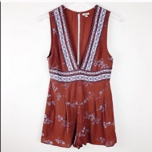 Urban Outfitters Ecote Maroon Floral Shorts Romper